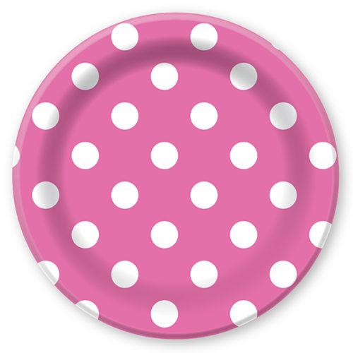 Тарелки бумажные 23 см Горошек Розовый 6 штук