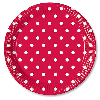 Тарелки 23 см Горошек красный 10 штук