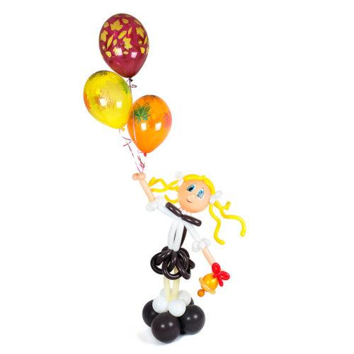 Ученица с шариками и колокольчиком