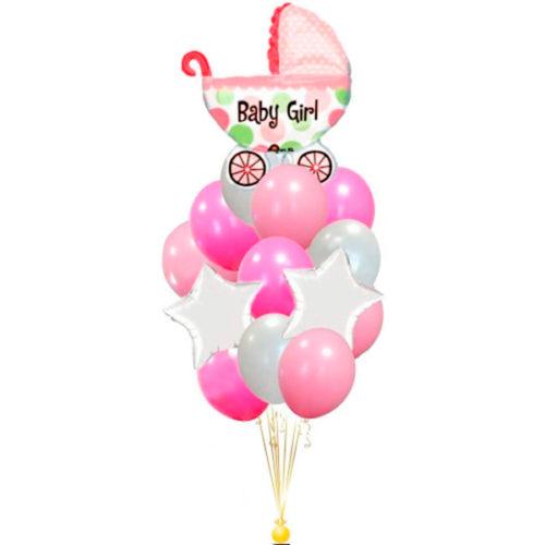 Фонтан из воздушных шаров для девочки с коляской и звездами