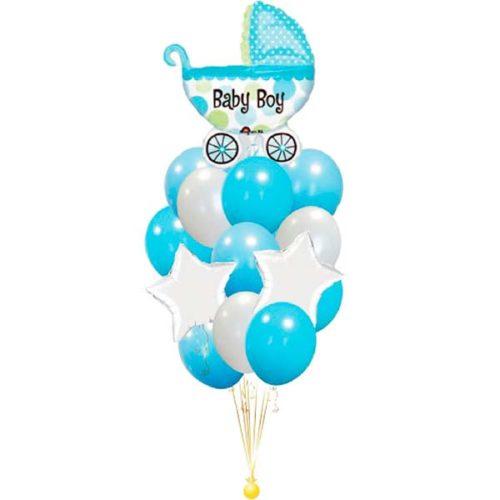 Фонтан из воздушных шаров для мальчика с коляской и звездами
