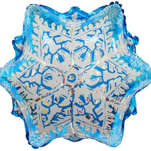 Шар 51 см Фигура Снежинка Серебро