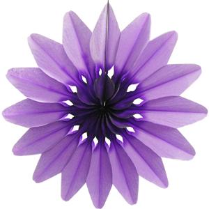 Бумажное украшение 36 см Цветок фиолетовый