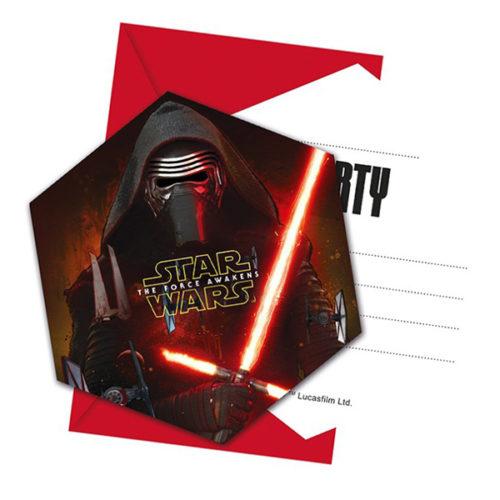 Приглашения 9 х 14 см Звездные войны 6 штук
