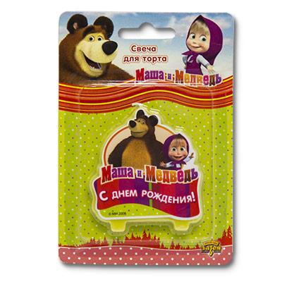 Свеча-табличка С ДР Маша и Медведь