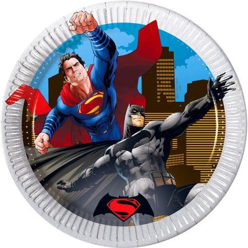 Тарелки бумажные 20 см Бэтмен против Супермена 8 штук