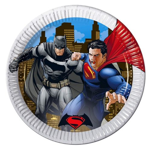 Тарелки бумажные 23 см Бэтмен против Супермена 8 штук