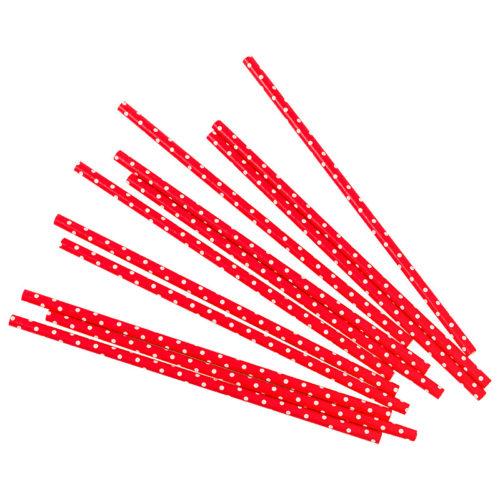 Трубочки для коктейлей красные в белую точку 12 шт