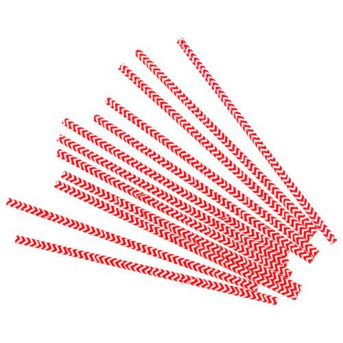 Трубочки для коктейлей красные зигзаги 12 шт
