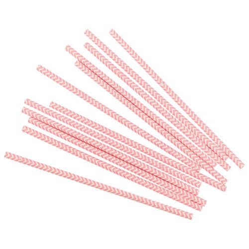 Трубочки для коктейлей розовые зигзаги 12 шт