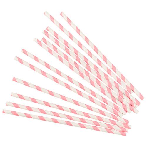 Трубочки для коктейлей розовые полосы 12 шт