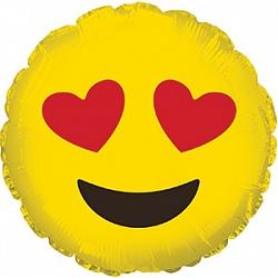 Шар 23 см Мини-круг Смайл Эмоции Влюбленный Желтый