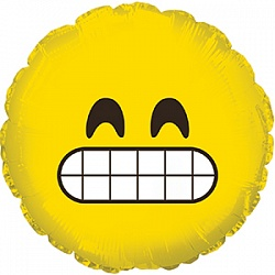 Шар 23 см Мини-круг Смайл Эмоции Неприятно Желтый
