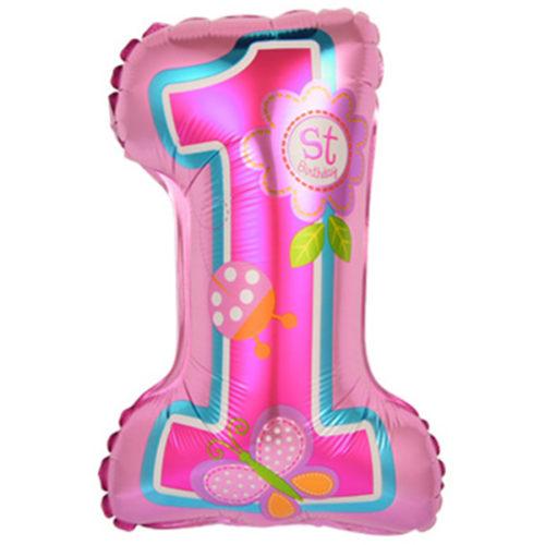 Шар 41 см Цифра Первый ДР Девочки Розовый