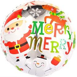 Шар 46 см Круг Веселый Дед Мороз