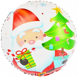 Шар 46 см Круг Дед Мороз с подарками