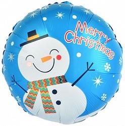 Шар 46 см Круг Счастливый снеговик