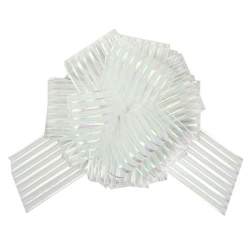 Бант Шар органза Полоска Белый 16 см 10 шт