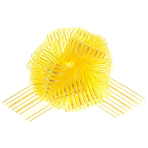 Бант Шар органза Полоска Желтый 16 см 10 шт