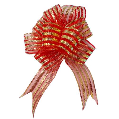 Бант Шар органза Полоска Красный 16 см 10 шт