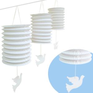 Бумажная гирлянда Свадебные бумажные фонарики с подвеской Голуби 3,6 м
