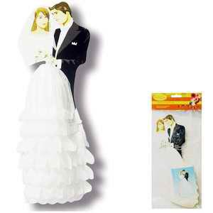 Бумажное украшение 29 см Жених и невеста в белом платье