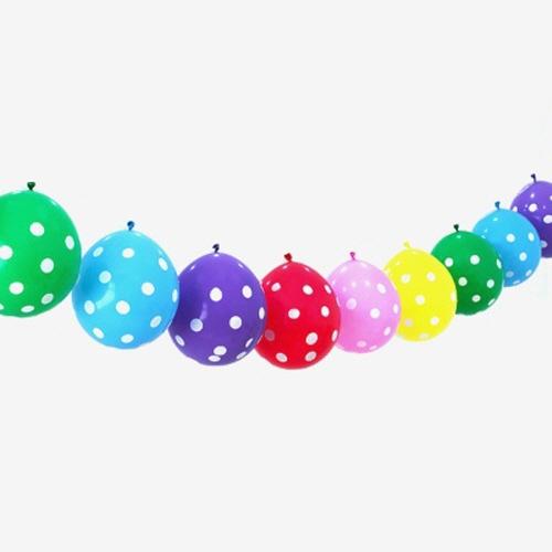 Гирлянда из 10 разноцветных шаров с рисунком горох
