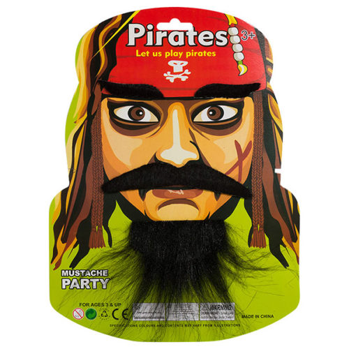 Набор Пират Джек борода усы брови черный