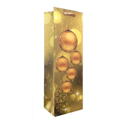 Пакет подарочный для бутылки 12 х 36 х 9 Новогодние шары и снежинки