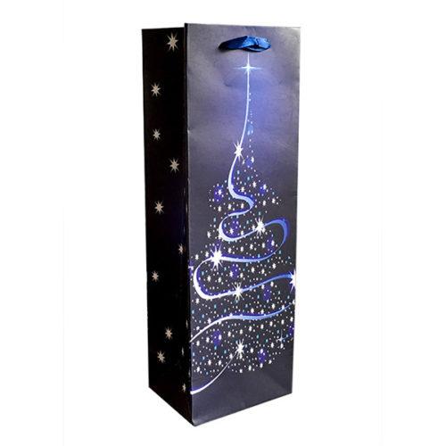 Пакет подарочный для бутылки 12 х 36 х 9 Новогодняя елочка