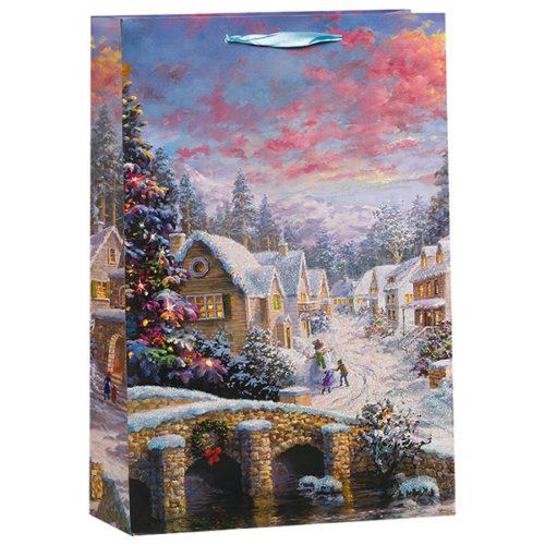 Пакет подарочный 18 х 23 х 10 Зимний пейзаж мост с блестками