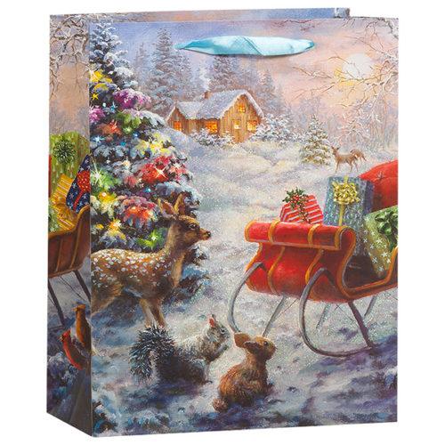 Пакет подарочный 18 х 23 х 10 Зимний пейзаж сани с блестками