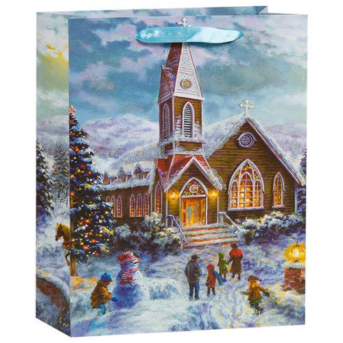 Пакет подарочный 18 х 23 х 10 Зимний пейзаж церковь с блестками