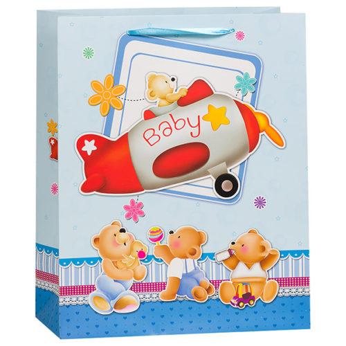 Пакет подарочный 18 х 23 х 10 Мишка в самолете Голубой