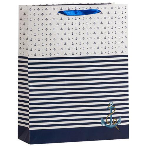 Пакет подарочный 18 х 23 х 10 Морской с якорем Синий