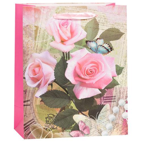 Пакет подарочный 21 х 25 х 10 Три розы бусы