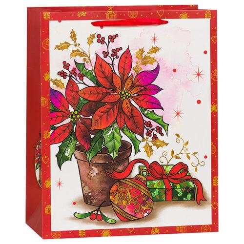 Пакет подарочный 26 х 32 х 12 Ваза с цветами Красный