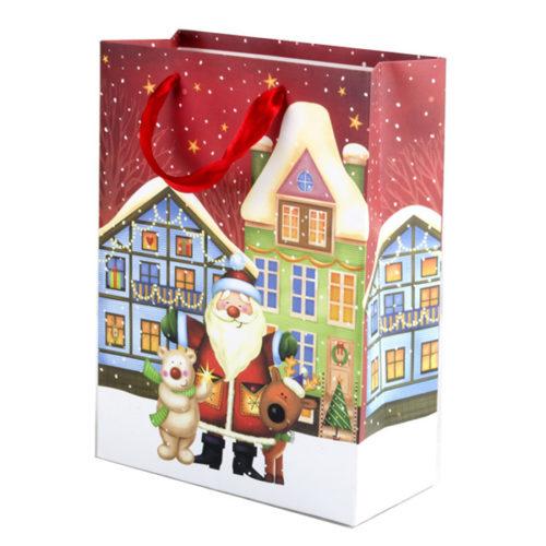 Пакет подарочный 26 х 32 х 12 Дед Мороз с друзьями