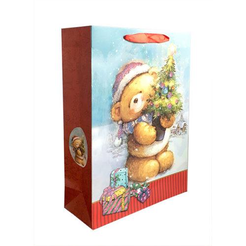 Пакет подарочный 26 х 32 х 12 Мишка с елочкой с глиттером