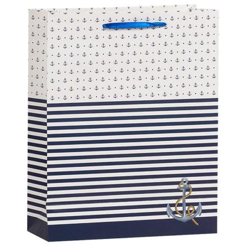 Пакет подарочный 26 х 32 х 12 Морской с якорем Синий