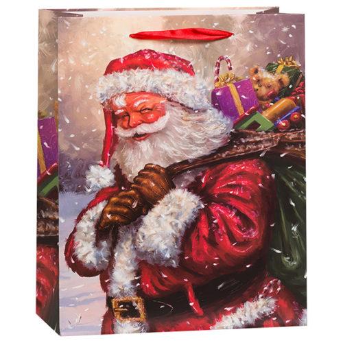 Пакет подарочный 26 х 32 х 12 Новогодний Дед Мороз с подарками