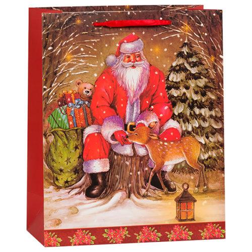 Пакет подарочный 26 х 32 х 12 Новогодний Дед Мороз