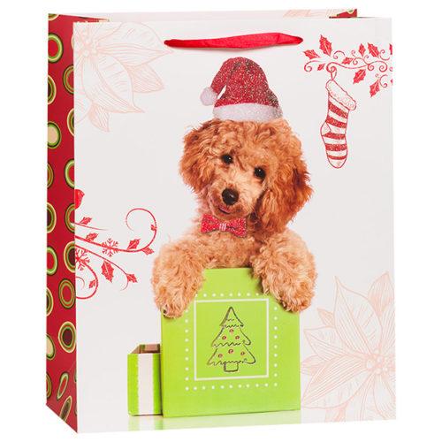 Пакет подарочный 26 х 32 х 12 Новогодний собачка с красным бантиком