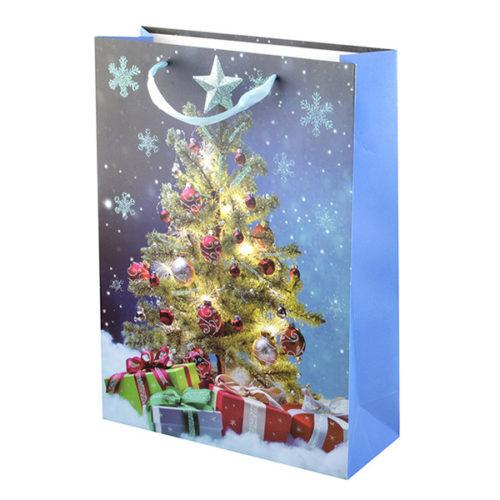 Пакет подарочный 26 х 32 х 12 Новогодняя елка с глиттером Голубой