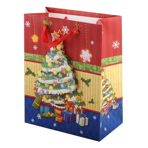 Пакет подарочный 26 х 32 х 10 Новогодняя елка с глиттером Объемный
