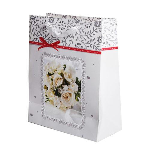 Пакет подарочный 26 х 32 х 12 Поздравляю Белые розы