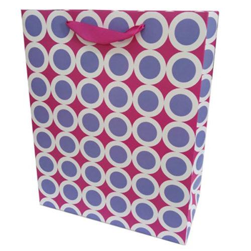 Пакет подарочный 26 х 32 х 12 Точки в белой окантовке Розовый