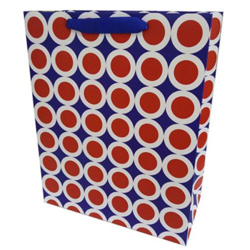 Пакет подарочный 26 х 32 х 12 Точки в белой окантовке Синий