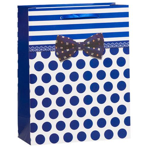 Пакет подарочный 26 х 32 х 12 Точки и полосы Синий