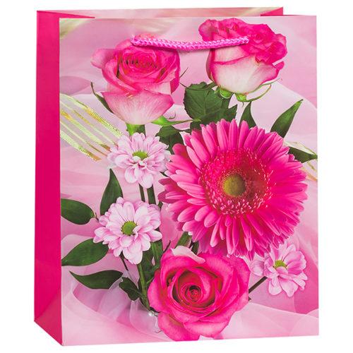 Пакет подарочный 27 х 33 х 14 Букет розы герберы